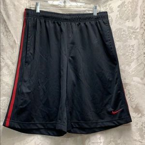 Nike Athletic Shorts Black Red Detail Large EUC